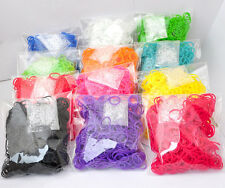 600Pcs 1 Bag  DIY Rainbow Rubber Loom Rubber  Bracelet Refills 24 s Clips
