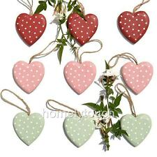 New Wooden Hanging Hearts Pink Red Green Polkadot  Shabby Chic Heart Decorations