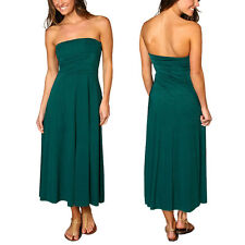 A-line Chic strapless Jersey Cocktail Party Day Dress Convertible Skirt Teal