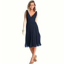 New Exquisite V-Neck Cocktail Evening Party Chiffon Day Dress Midnight Blue