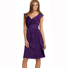 Tiered Fashion Formal Knee Length Cocktail Party Evening Dress Deep Purple