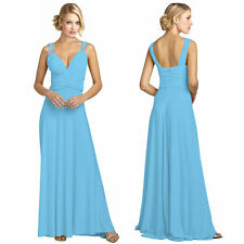 Elegant Rhinestone V-Neck Formal Party Cocktail Bridesmaid Evening Dress L-Blue