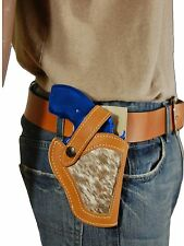 """NEW Barsony Tan Leather Hair on Hide Gun Holster Ruger 22 38 357 Snub Nose 2"""""""