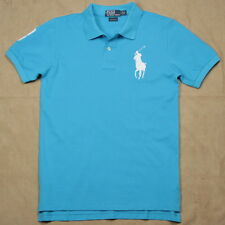 New Ralph Lauren Polo Shirt Custom Fit Big Pony Men's No.3 Ocean Blue / White