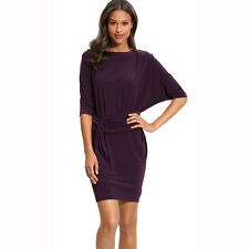 Batwing Sleeves Crewneck Jersey Party Day Night Cocktail Evening Dress Eggplant