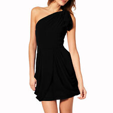 Chic One Shoulder Short Chiffon Cocktail Party Prom Dress Club Wear Black