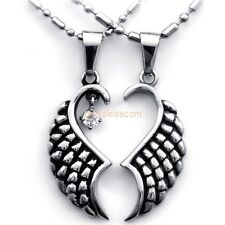 Casting Stainless Steel Matching Angel Wings Pendant Necklace Lovers Gifts