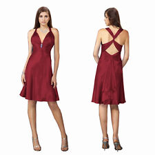 Sexy Rhinestone Satin A-line Cocktail Party Night Club Prom Dress Burgundy