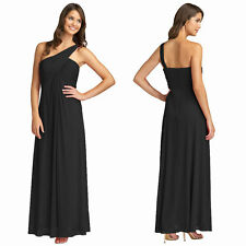 Elegant One Shoulder Crisscross Evening Party Dress Formal Night Gown Black