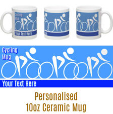 CYCLING  PERSONALISED MUG  CHOICE OF PINK OR BLUE  GREAT BIRTHDAY GIFT IDEA!