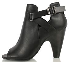 Soda Black Faux Leather Peep Toe Side Buckle Cut Out Ankle Boots High Heel Layla