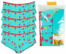 Ladies5 Pack Pineapple Print Hipster Shorts Briefs Knickers Pants Size 10 to 20