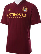MANCHESTER CITY MAROON 2012/13 AWAY UMBRO SHORT SLV SOCCER FOOTBALL SHIRT JERSEY
