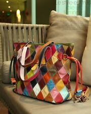 Fashion Women Color Genuine Leather Patchwork Bag Spangle-Ribbon Bag Cow handbag