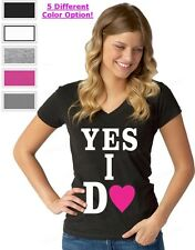YES I DO proposal WOMAN V-NECK lovers marriage proposal wedding tees