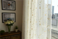 Country Beige Flowers Floral Embroidered White Sheer Voile Curtain Customizable