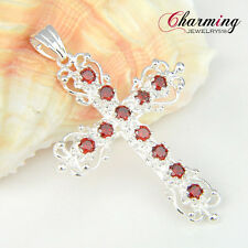 HIGH Quality Garnet Citrine Pink Topaz Gems Silver Cross Pendant + Free Chain