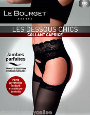 Le Bourget Collant Caprice 20 Denier Suspender Tights Black - Open Gusset