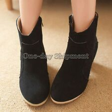 Womens Martin Boots Block Heel Side Zipper Shoes Ankle Boots Martin Knight Boot