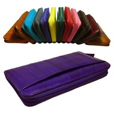Genuine Eel skin Leather Zippered  Wallet  Purse 13 colors