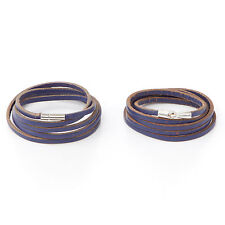 Kristine Wong Chong: Blue Leather Wrap Bracelets with Stainless Hook or Ball