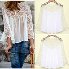 Ladies Women Blouse Casual White Lace Shirts Chiffon Blouses T Shirt Tops