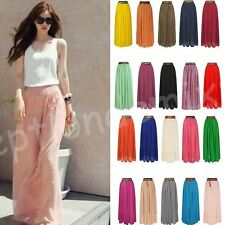 Fashion Summer Women Sexy Candy Color Pleated Loose Chiffon Long Skirt Dresses