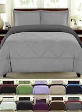 Reversible Goose Down Alternative Comforter Sham 3 PC Set 90 GSM - 5 Colors
