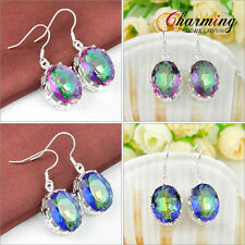 Rare Party Gift Fire Rainbow Mystical Topaz Gems Silver Lady Earrings Jewelry
