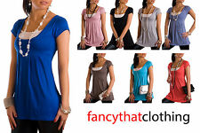 Sexy Womens Tunic Top Shirt Loose Fit Trendy Great for Maternity Sizes S M L XL