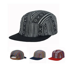 5 Panel Hip Hop Hat Navy Red Black Geo Stripe Aztec Native Cap Baseball Goldtop