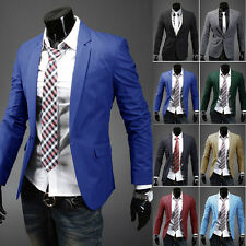Stylish Men's One Button Slim Fit Casual Formal Business Suit Blazer Coat Jacket