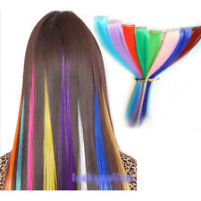 "Multi Color Women 17"" Long Straight Synthetic Clip in on Hair Extensions Piece"
