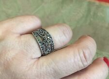 White Gold Plated Vintage Wedding Silver Flower Ring with Black Cubic Zirconia