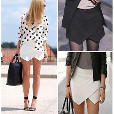 New Women Asymmetrical Career Tiered Culottes Skorts Shorts Wrap Mini Skirts