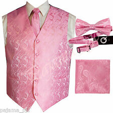 Pink XS to 6XL Paisley Tuxedo Dress Vest Waistcoat & Neck tie & Bowtie And Hanky