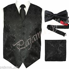 Black XS -6XL Paisley Tuxedo Dress Vest Waistcoat & Neck tie & Bowtie And Hanky