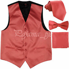 Coral XS to 6XL Solid Tuxedo Suit Vest Waistcoat & Neck tie And Bow tie & Hanky