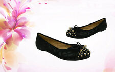 New Ladies Women Flat Ballerina Pumps Ballet Dolly Black Bow Shoes Size 3-8