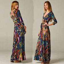 BOHEMIAN Dark Blue Paisley Jersey MAXI DRESS Faux Wrap LONG Skirt vtg style BOHO