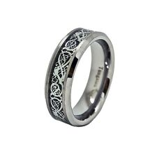 7mm Satin Finished Tungsten Carbide Celtic Dragon Inlay Wedding Ring Sizes 4-15