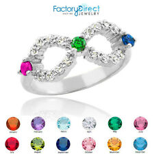 Triple CZ Birthstone Infinity Sterling Silver Ring 3 Stones! Alexandrite (June)