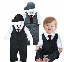 Baby Boy Wedding Formal Tuxedo Suit Striped Romper Outfit Clothes+HAT Set 3-24M