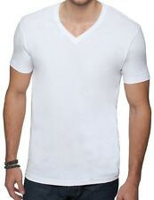New Mens V-Neck T-Shirt 100% Cotton Plain Tee White S-2XL
