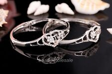 1PC Heart-Shaped Shiny Crystal Rhinestone Wedding Party Fashion Bracelet 56x16mm