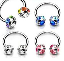 New 7 Gem Horseshoe Lip Bar, Septum, Ear, Nipple Ring, Belly Bar