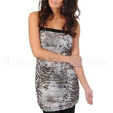 Metallic Tiger/Leopard Animal Print Ruched Bodycon Party Dress Black Womens Size