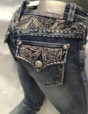 Grace In LA Jean Paisley Stones Flap Pockets Skinny Leg Light Blue JNW 6782 New