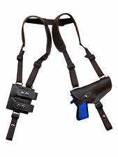 NEW Barsony Brown Leather Shoulder Holster Dbl Mag Pouch Ruger, Star Full Size