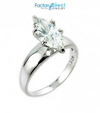 Women's Ladies Sterling Silver 2.75 ct CZ Marquise Solitaire Engagement Ring